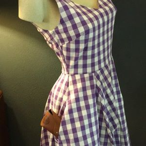Ixia Dresses - Lavender Gingham Swing Dress